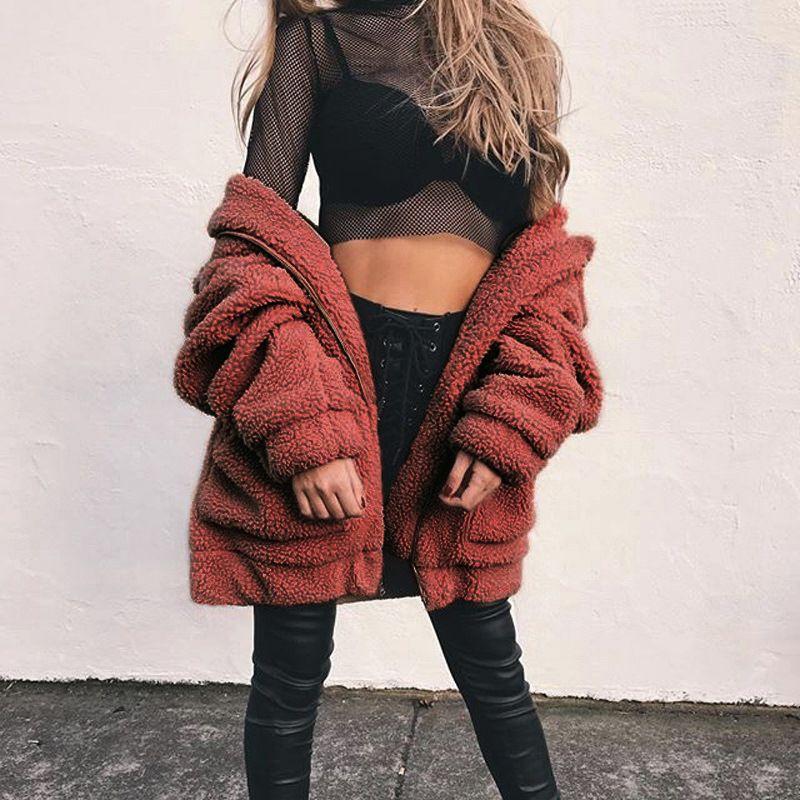 Elegant Faux Fur Coat Women 2021 Autumn Winter Warm Soft Zipper Fur Jacket Female Plush Overcoat Casual Outerwear Fluffy Jacket недорого