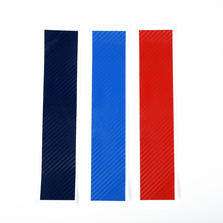 Auto Catr de fibra de carbono tira de vinilo etiqueta Juego de piezas de estilo de coche para BMW E46 E90 E60 E87 M3 M5 tres adhesivo de colores
