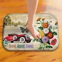40x60cm cute vintage flower diy print floor mat bathroom ground mat slip door bath pad rug living room carpet