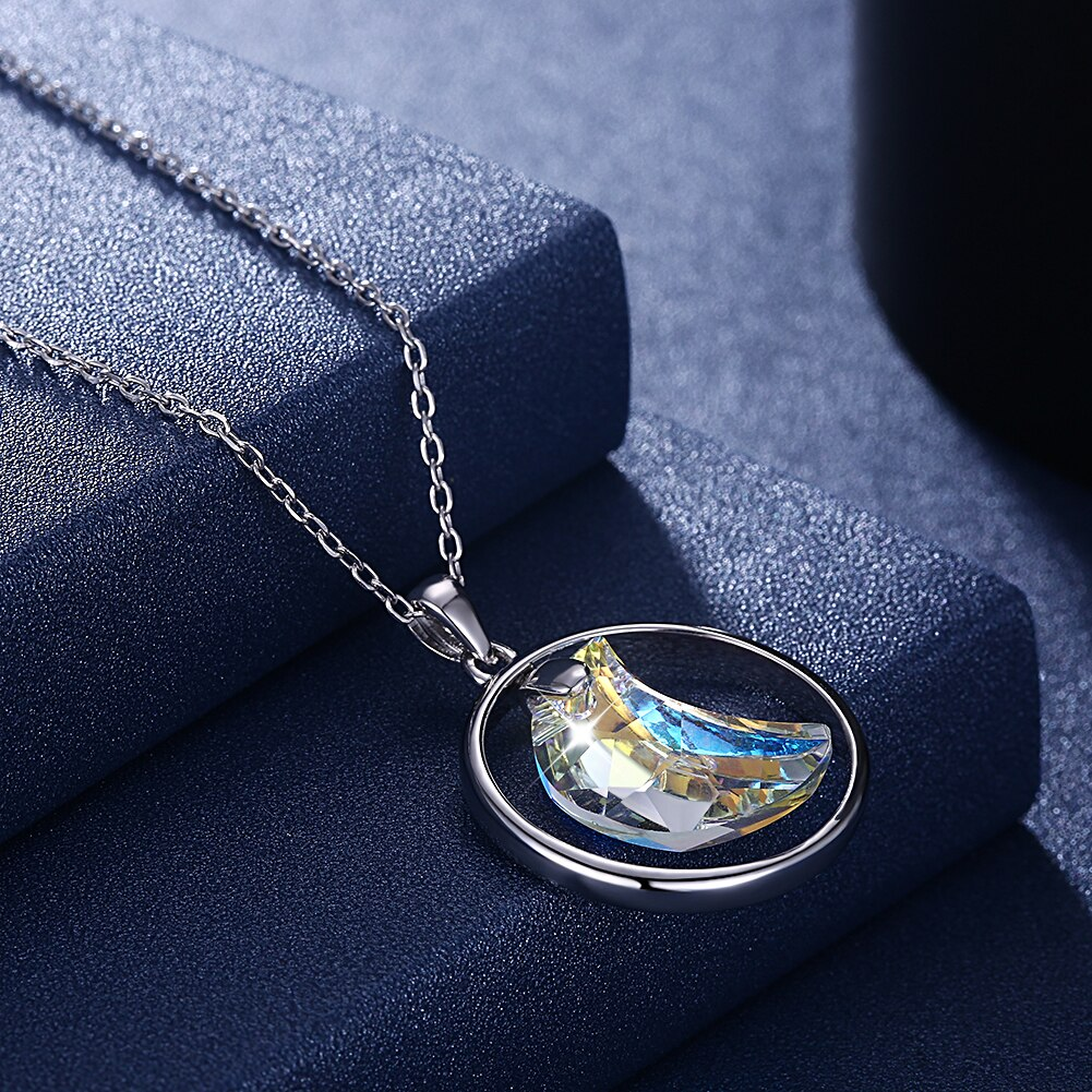 Lekani cristais de swarovski colar 925 prata esterlina forma redonda pingente lua jóias de casamento colar presentes