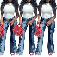women denim raw stitching patchwork baggy jeanshigh waist flare y2k jeans super stretchy jeans streetwear office work outfits