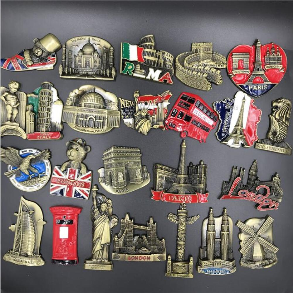 Babelemi Metal Beijing nueva York londres París Italia Dubai Bélgica India Israel Holanda Malasia imanes de recuerdo Decoración
