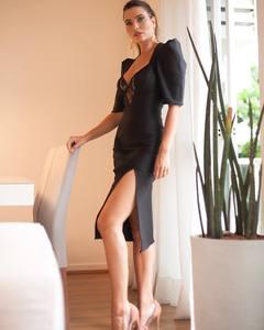 2019 New Arrival black  v neck short sleeve Celebrity evening party bodycon bandage dress wholesale