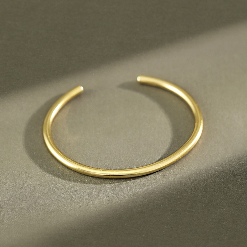 Ins 1 pc authentic 925 prata esterlina branco/ouro arredondado brilhante geométrica manguito pulseira aberto ajustar jóias tls313