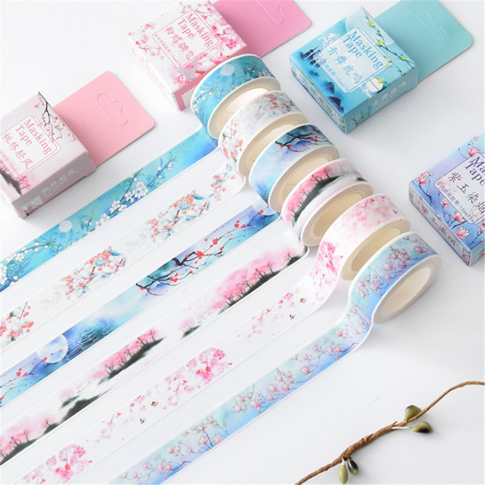 1PCS Flower Falls and Blow Decorative Washi Tape DIY Scrapbooking Masking Tape School Office Supplies