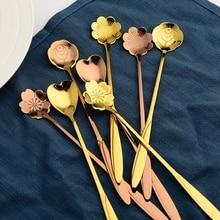 Cuillère à Long manche sucre Dessert   Cuillère en acier inoxydable, Design de fleurs, cuillère en or cuillère à thé Bar café vaisselle