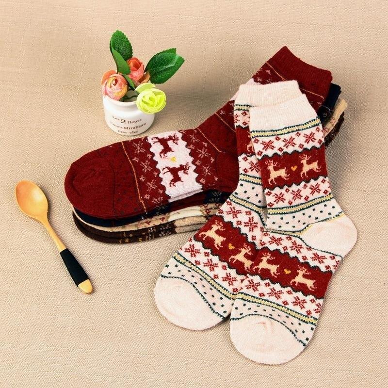 1 пара зимние женские носки теплые шерстяные рождественские носки до середины икры шерстяные снежинки олень удобный подарок милые носки дл...
