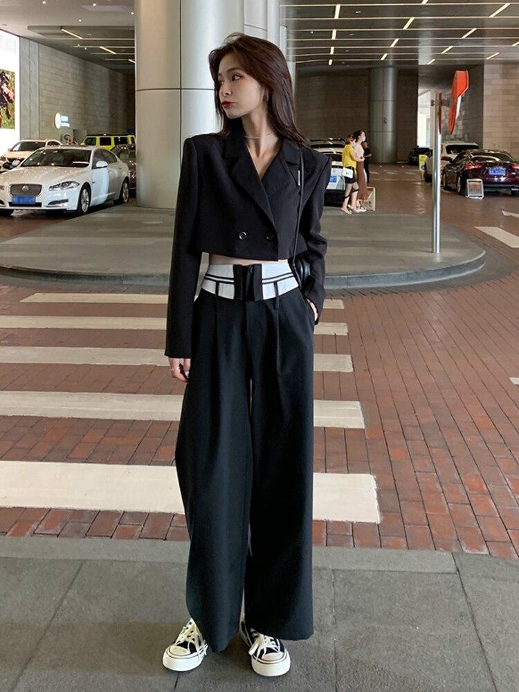 الخريف دعوى الإناث قصيرة طويلة الأكمام سترة دعوى تصميم عالية الخصر واسعة الساق السراويل موضة قطعتين مجموعة النساء