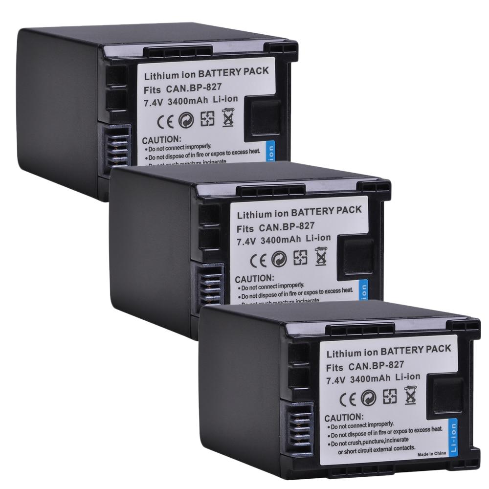 3pc 3400mAh BP 827 Bateria Da Câmera para Canon BP-819 BP-827 BP-807 BP-809 HG31 XA10 HF20 HF10 HF100 HF100E HF11 HG20 HG21 HFS100