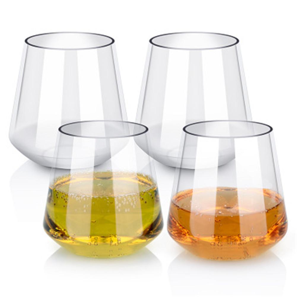 Vaso de vino transparente de 450ML sin pie, copa de whisky Tritan, vaso de whisky de plástico anticaída, copa de vino duradera para fiesta de Camping