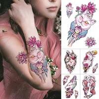waterproof temporary tattoo sticker ice cream cat flash tattoos pink anime harajuku body art arm fake tatoo women