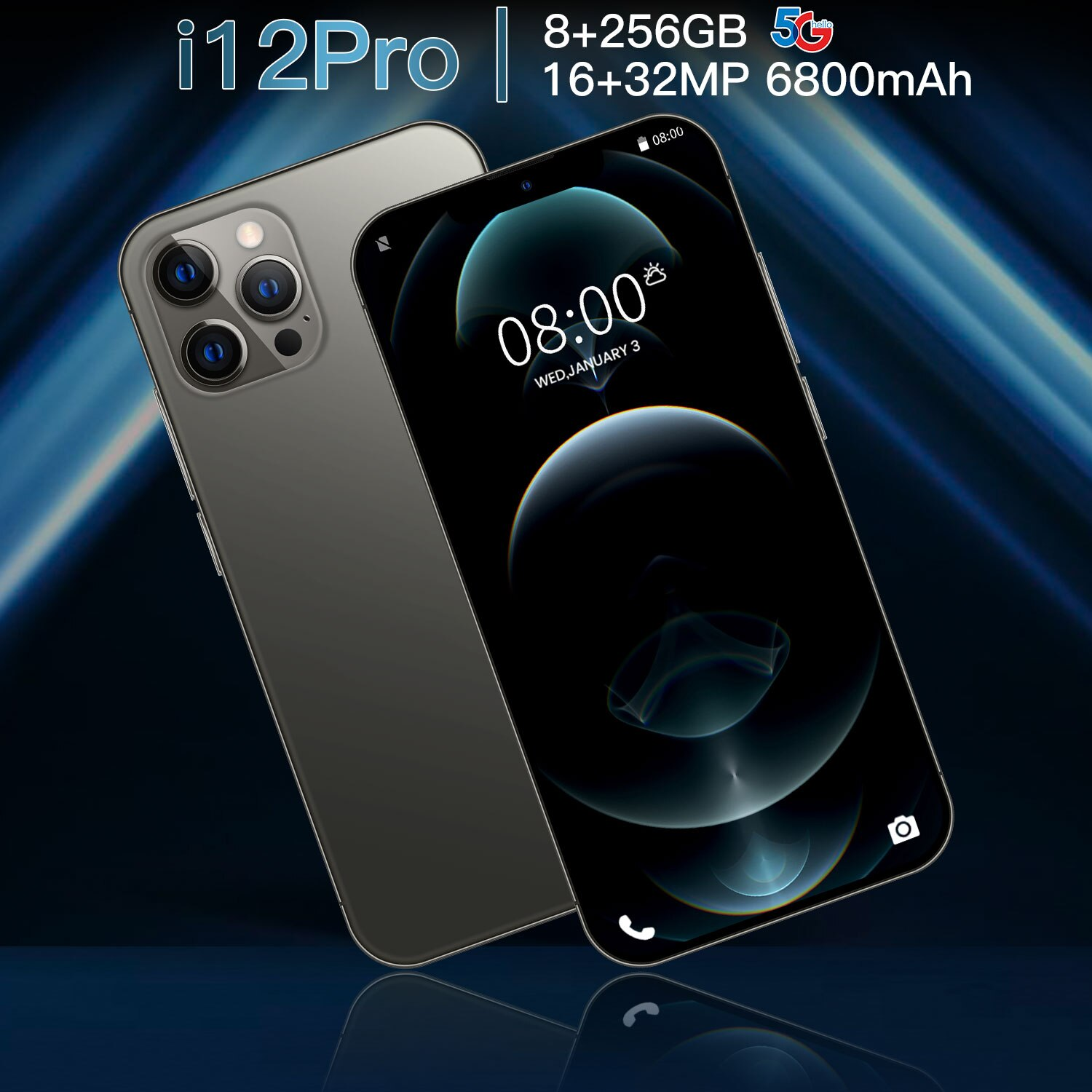 2021 New i12Pro Android 10 6800mAh 8GB 256GB 6.7Inch Smartphone Dual SIM Card Mobile Phone Google GP