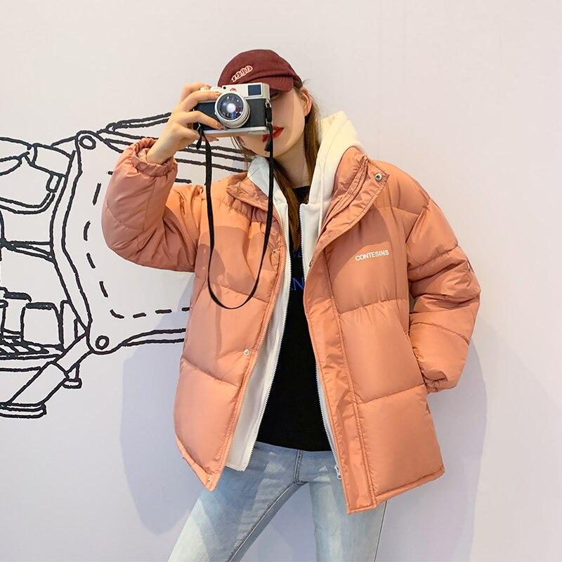 Зимние женские пуховики, куртки-бомберы, новые корейские однотонные парки, толстые повседневные теплые хлопковые куртки с капюшоном из дву...