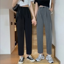 Black High Waist Slimming Casual Ankle-Length Suit Pants Women's Ins Trendy 2021 New Small Straight