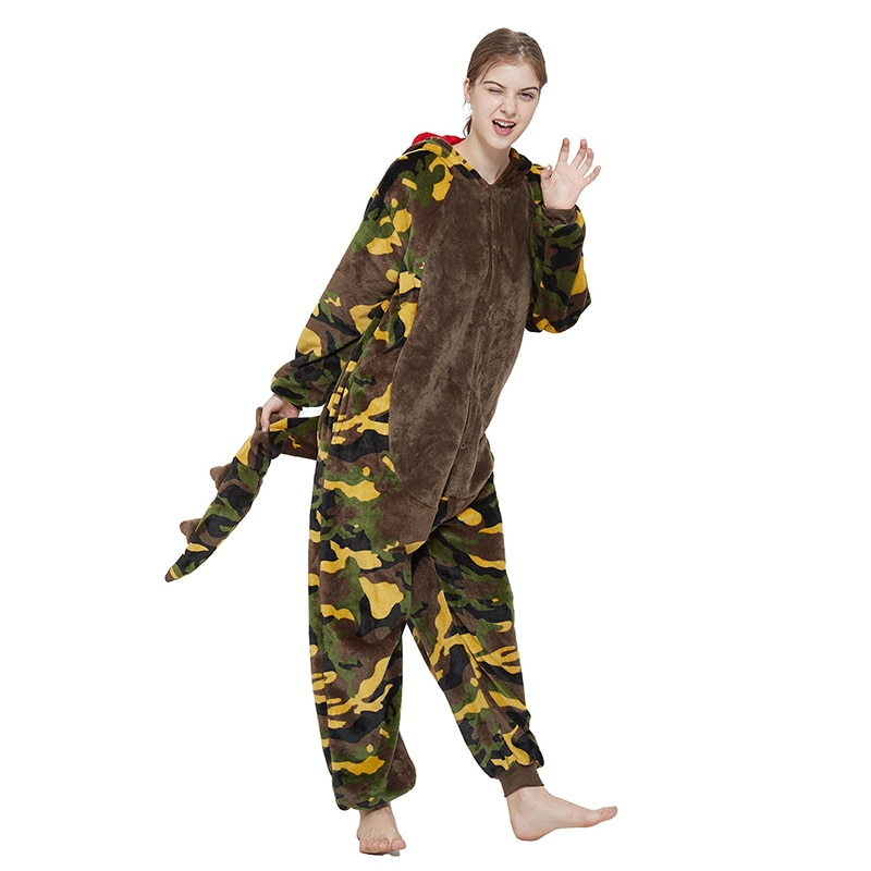 New kigurumi dinosaur cartoon onesie women animal one-piece pajamas for boys and girls adult parent-child sleepwear cosplay