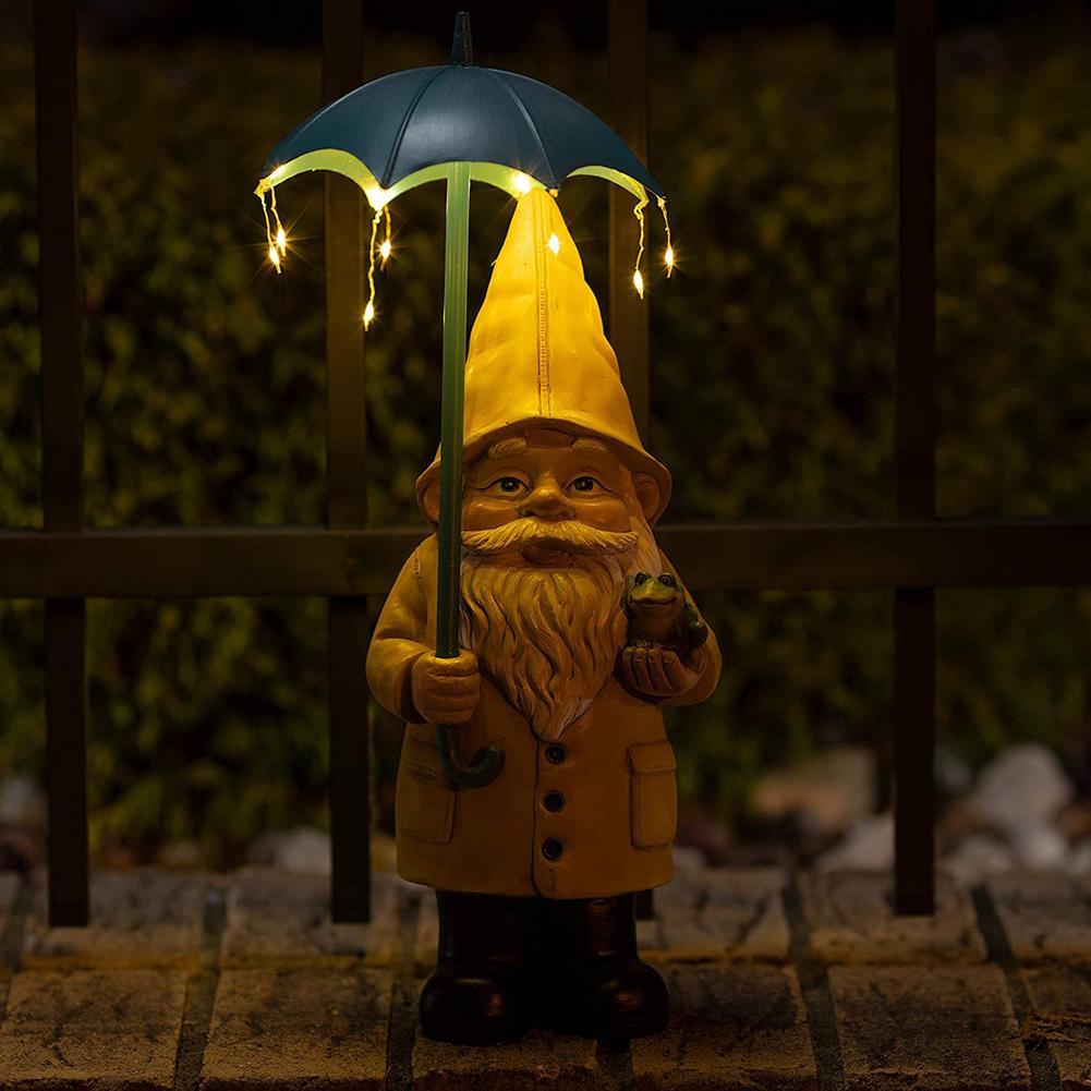 جديد معطف واق من المطر غنوم تماثل صمغي ساحة الفن ضوء في الهواء الطلق حديقة عقد مظلة غنوم النحت ديكور مع مصباح ليد الشمسية