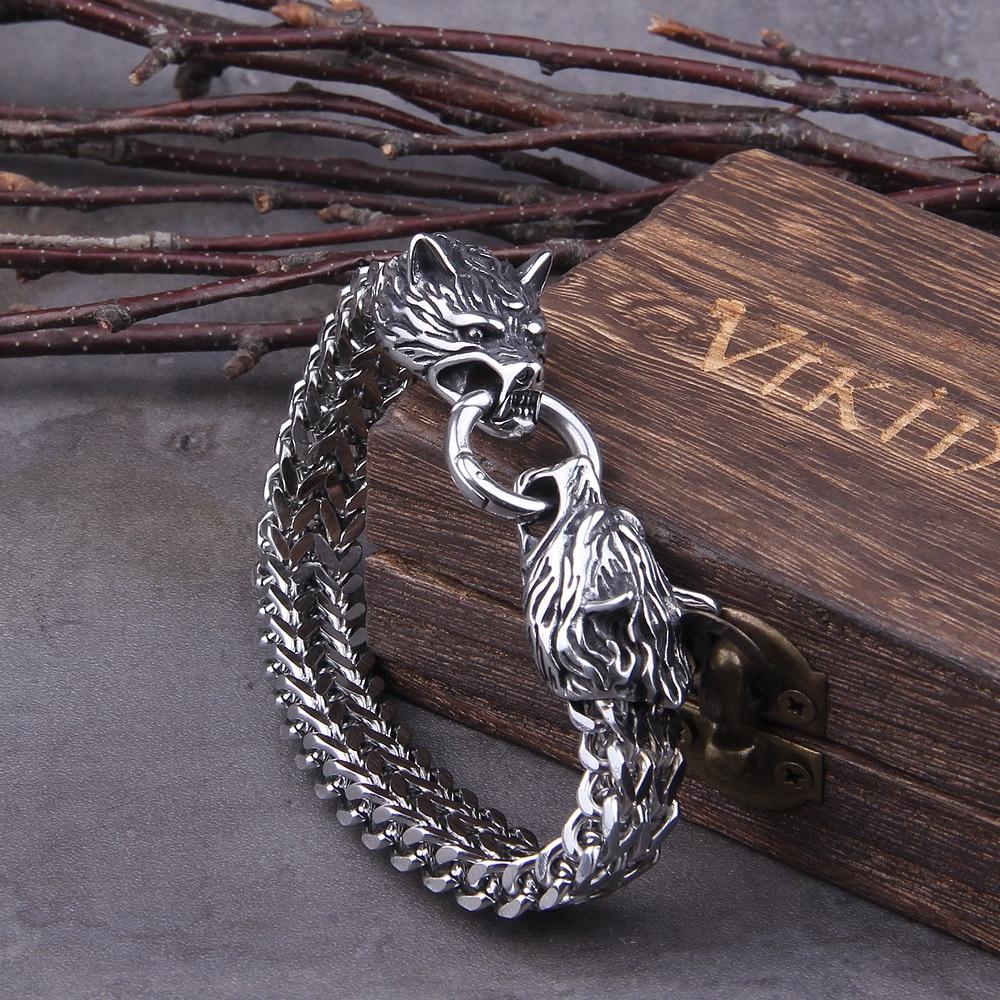 Never Fade Rock Viking Wolf Charm Bracelet Men's Stainless Steel Mesh Chain Gold Wolf Punk Bracelets Biker Jewelry