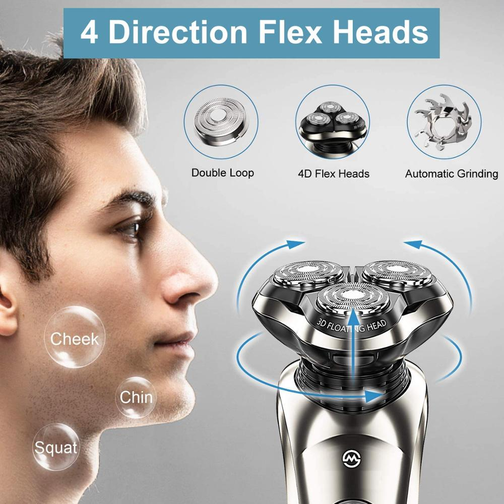 Professional rotary electric shaver wet dry beard electric razor for men rechargeable facial shaving machine with smart cleaner enlarge