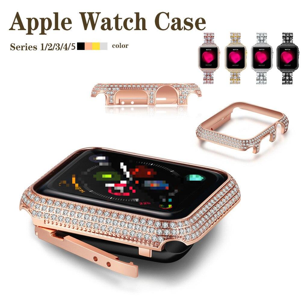 Capa para Apple 40mm com Protetor de Broca para Iver 4 para Mulher Diamante 3 2 1 Case Luxuoso 38mm 42mm 44mm para Ver 5 4