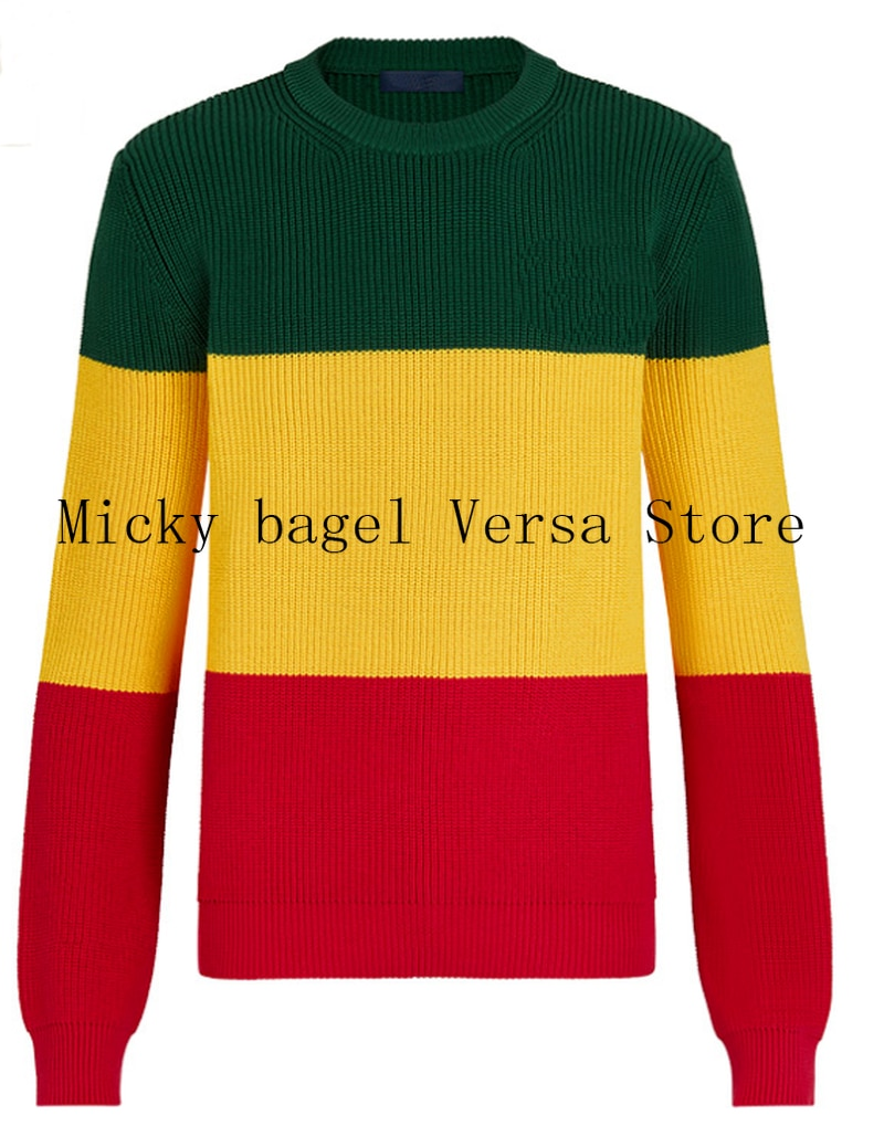 2021 luxury brand stripe stitching fashion women's long sleeve cotton top with round neck casual loose straight sweater Pullover enlarge