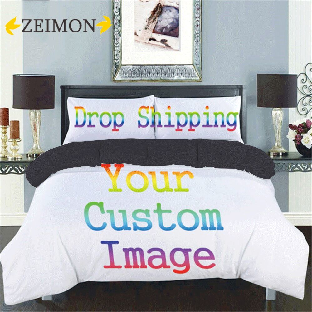 ZEIMON ثلاثية الأبعاد مطبوعة طقم سرير مخصص البوليستر المنسوجات المنزلية التوأم الملكة حجم 2/3 قطعة طقم أغطية لحاف مع أسود/رمادي المؤخر