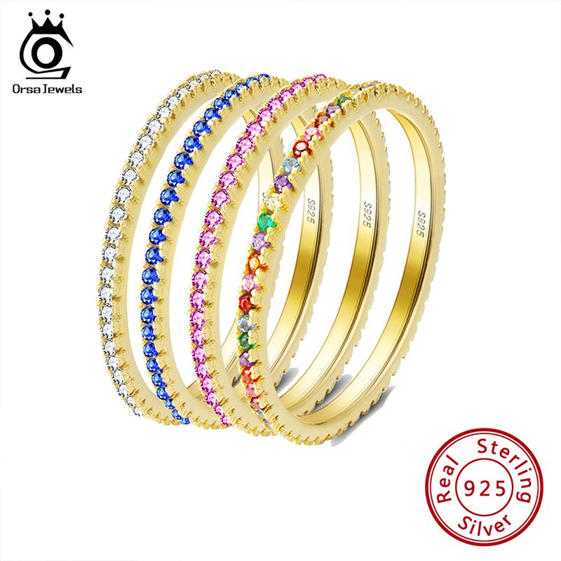 ORSA JEWELS Solid 925 Sterling Silver Women Rings Accessories Micro-inlaid Colourful Zircon Ring S925 Silver Fine Jewelry OSR63 wellmade solid 925sterling silver illuminati ring