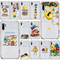 mms chocolate nutella phone case transparent for samsung s9 s10 s20 huawei honor p20 p30 p40 xiaomi note mi 8 9 pro lite plus