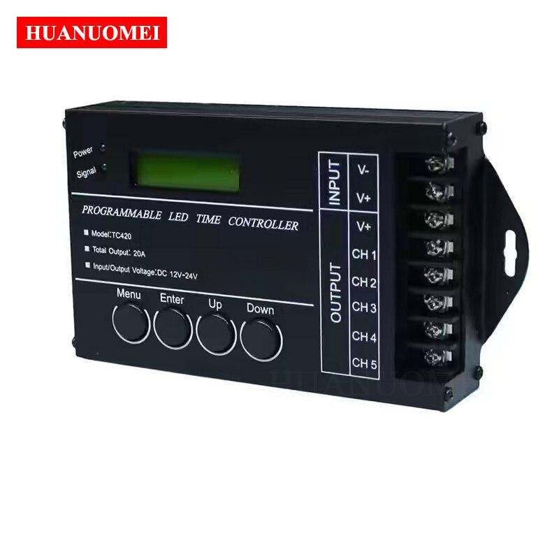 Förderung!!! TC420 Zeit Programmierbare LED Controller Einzel farbe oder RGB Dimmer; 5 Kanäle ausgang; 4A jeder kanal, max 20A; DC12 ~ 24V