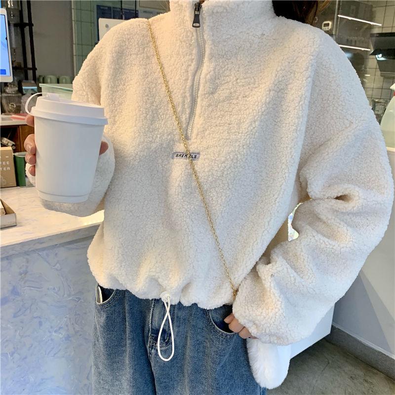 Зимние женские толстовки, короткий бархатный свитшот с имитацией овечьей шерсти, толстый бархатный свитшот с капюшоном, женская Свободная ...