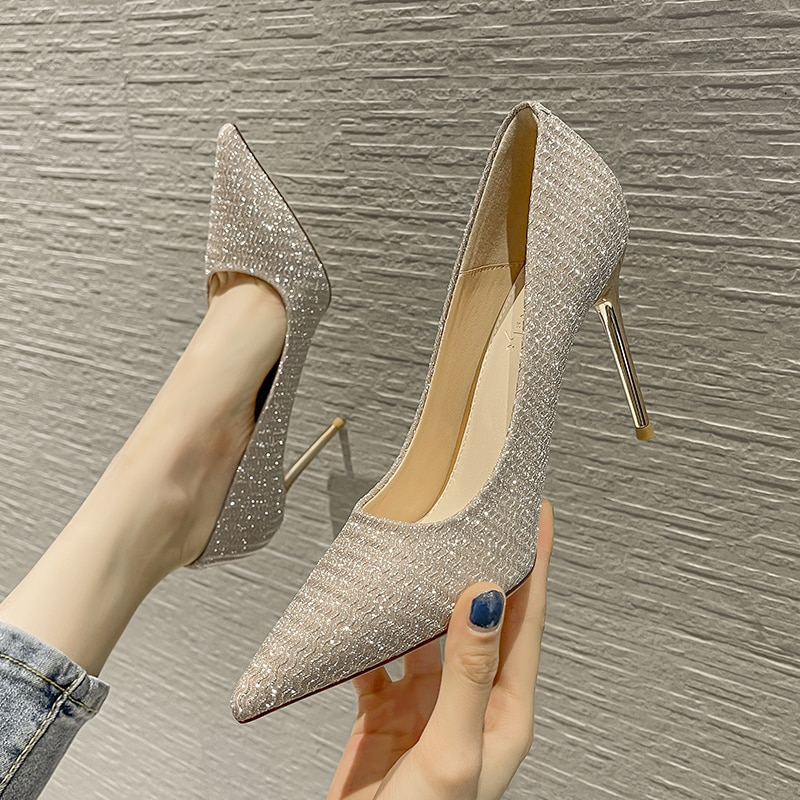 Fashion Designer Women's Special Shine Split Leather Pumps Stiletto High Heels Sexy Girls Shoes Wedding Shoes For Women