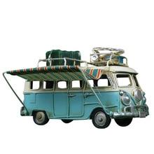 Home Decoration Bus Miniature Model Ornaments Antique Car Figurines Metal Crafts Photography Props Accessories Desk Decor Toys