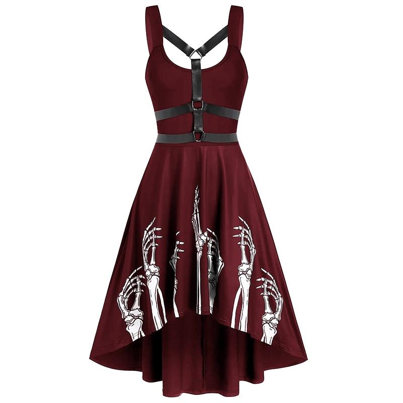 Vestido Bandage de talla grande S-5XL para mujer, vestido de mano con estampado de Calavera, sin mangas, hasta la rodilla y cintura alta para verano 2020 S-5XL