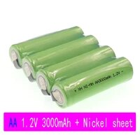4 20 aa rechargeable battery 1 2v 3000mah nimh battery blue case with solder pins for diy electric shaver toothbrush toy