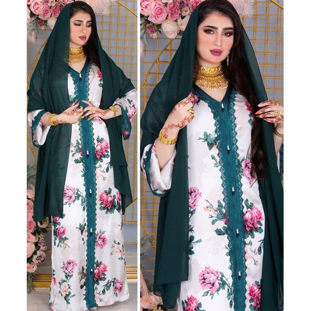 MD Pakistani Hijab Dress Women Turkish Islamic Clothing 2021 Eid Mubarak Muslim Abaya African Print Boho Robe Djellaba Femme