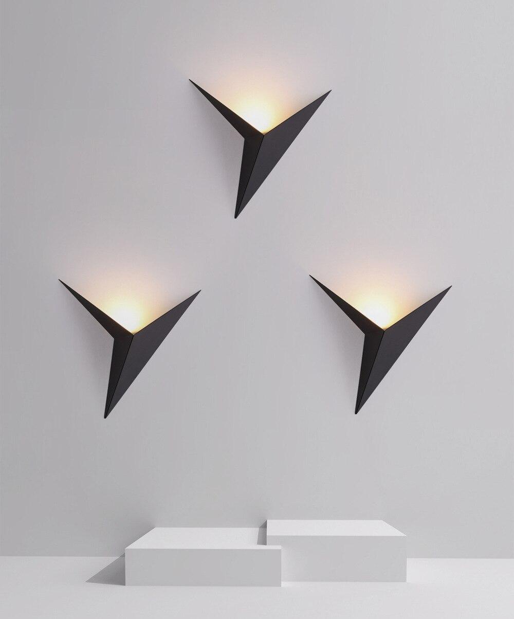 Gehore على شكل مثلث الجدار مصباح بسيط نوم دراسة فندق غرفة السرير وحدة إضاءة Led جداريّة مصباح Gehorecreative الحديد المطاوع الحائط