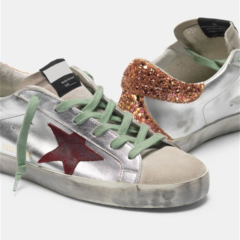 Spring and Autumn New Parent-child Fashion Casual Shoes Products Silver Patent Leather Retro Old Children's Dirty Shoes  QZ49 enlarge