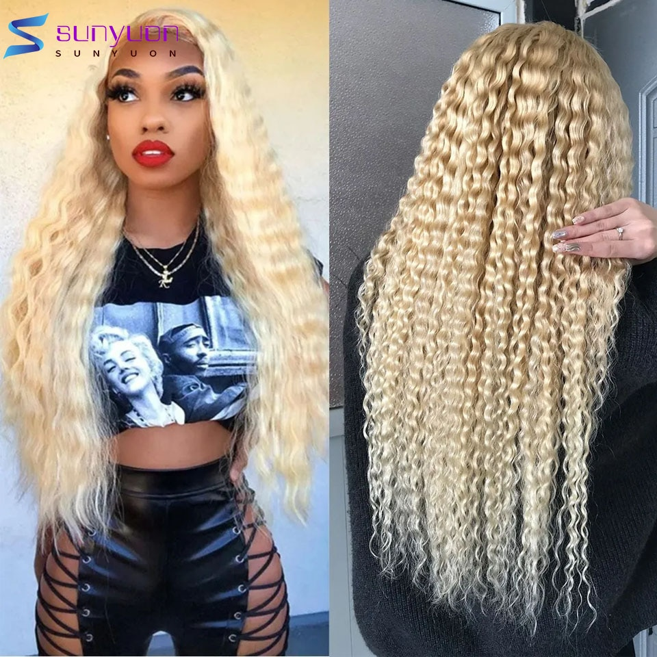 30 30 34 Inch 13X4 Kinky Curly Human Hair Wigs Honey Blonde Deep Curly Lace Front Wig With Baby Hair Brazilian Natural Hair Wig
