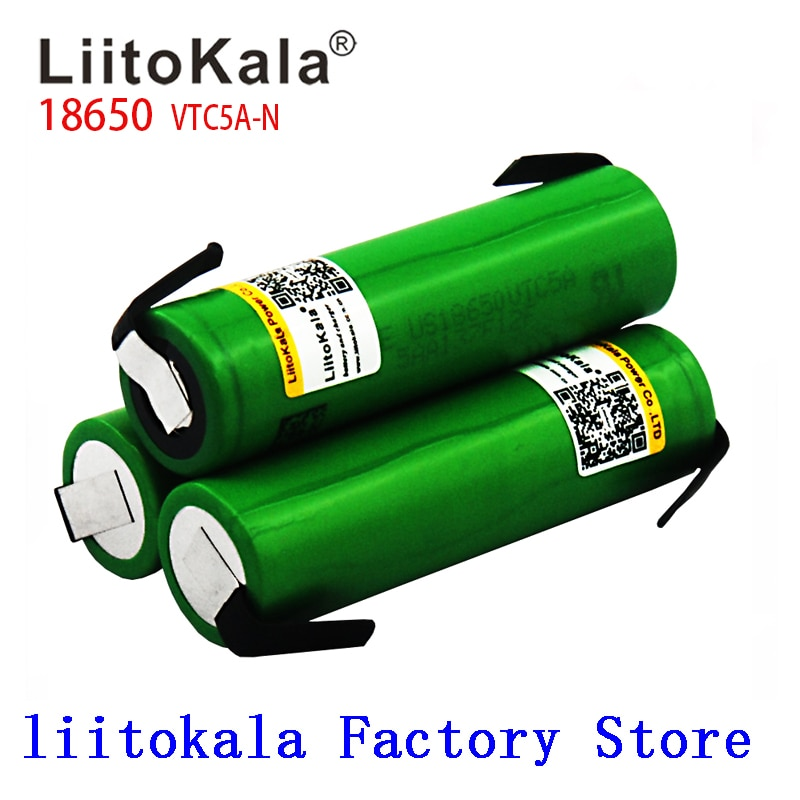 VTC5A-N Liitokala 18650 2600MAH 3.6V Original 18650 US18650 VTC5A 2600mAh Alta Dreno de Bateria 40A