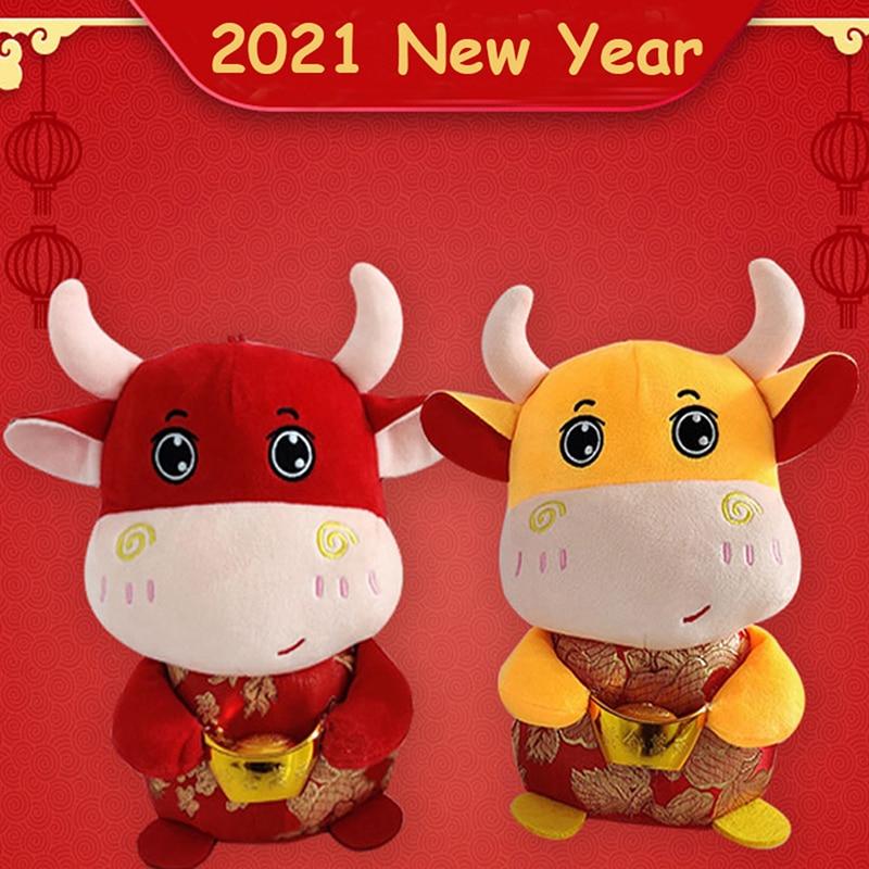 Año 2021, buey del Horóscopo Chino, animales de peluche, lindos muñecos de peluche de vaca para niños, regalo para niños 17/22.5/28.5cm