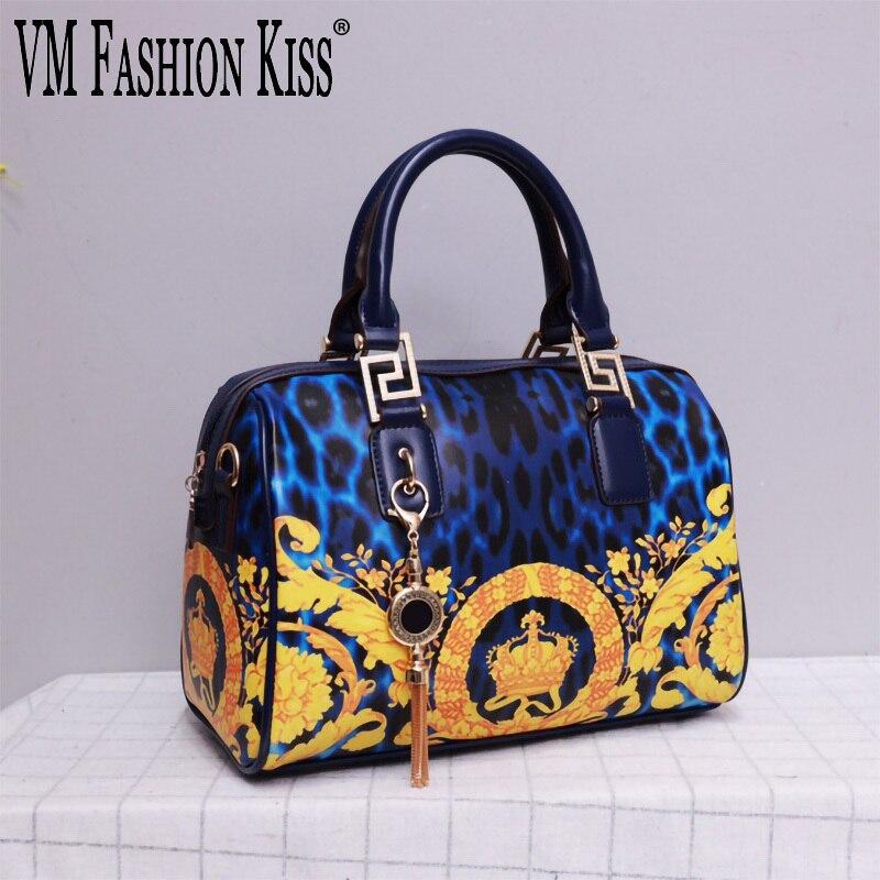 الكلاسيكية السيدات حمل حقيبة طباعة نمط بولي Leather جلد السيدات الكتفين حقائب شرابة قلادة كبيرة حقيبة كروسبودي Bolso Mujer