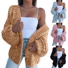 Sonbahar ve kış moda kadın kalın kazak hırka sıcak düz renk açık ön kazak ceket açık rüzgar geçirmez Streetwear