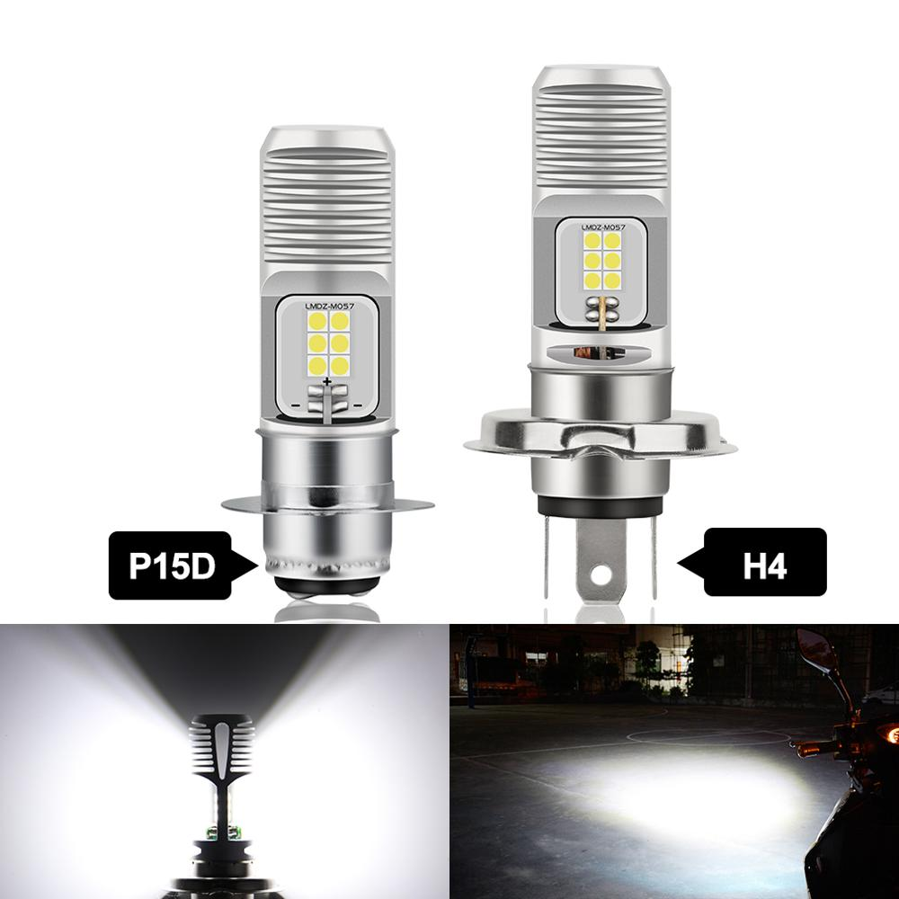 Canbus H4 P15D, 1 bombilla LED para faro de motocicleta, 12SMD 3030, accesorios para lámpara de motocicleta 12V 24V 1200LM 6000K blanco