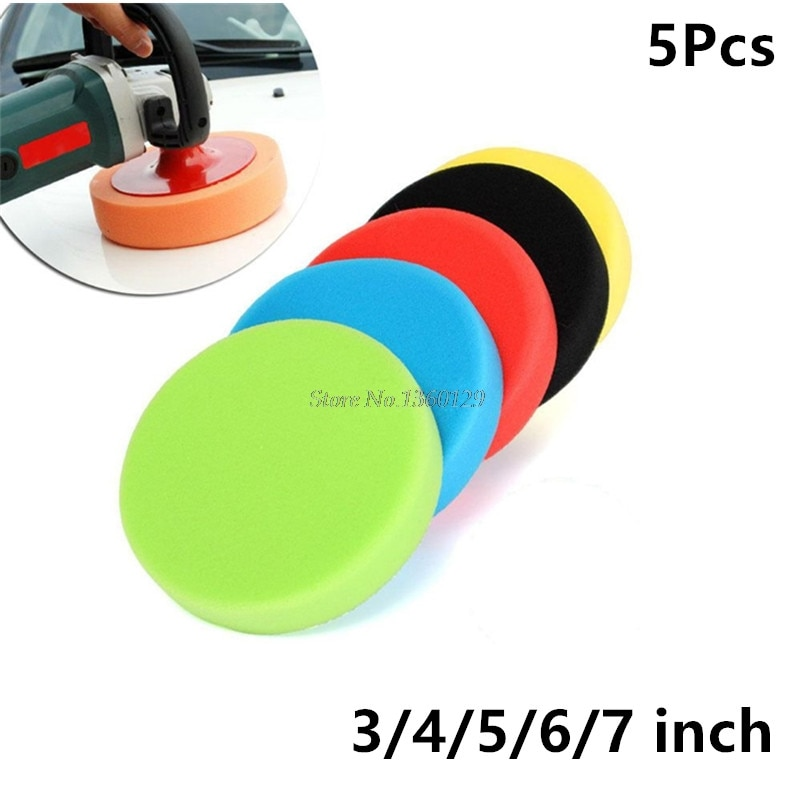 5Pcs/Set Car Polishing Pad 3/4/5/6/7 inch Sponge Buffing Waxing Boat Car Polish Buffer Drill Wheel polisher Removes Scratches