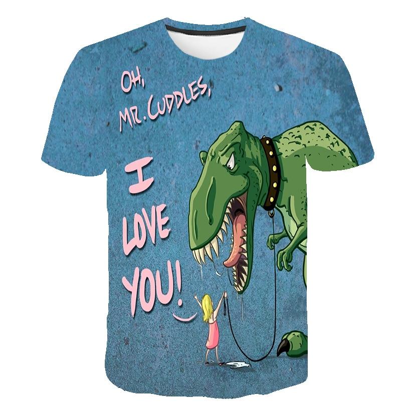 Купить с кэшбэком 4-14 Year The Boys 3D Dinosaur T Shirt Children's Short Sleeves Cartoon Tshirt Dinosaur Kids Girl Toddler Summer T-Shirt Clothes