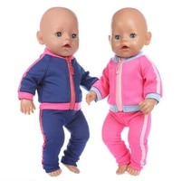 2021 new fit 18 inch baby new born doll clothes accessories red blue casual clothes for baby birthday gift