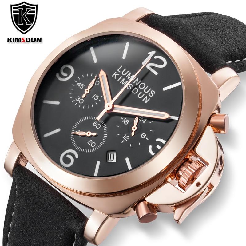 KIMSDUN®Pirata novos relógios masculinos topo de luxo da marca de couro relógio do esporte dos homens relógio de quartzo militar relógio de pulso do transporte da gota