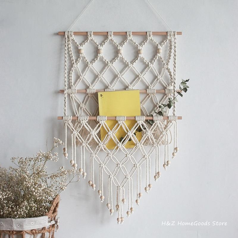 Hand Woven Storage Rack Macrame Tapestry Book Magazine Net Pocket Rack For Bohemian Decoration Boho Decor Ornament Livingroom