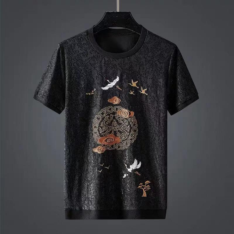 Китайские ветрозащитные жаккардовые футболки xiangyun с коротким рукавом и вышивкой журавлей, мужские летние свободные короткие футболки боль...