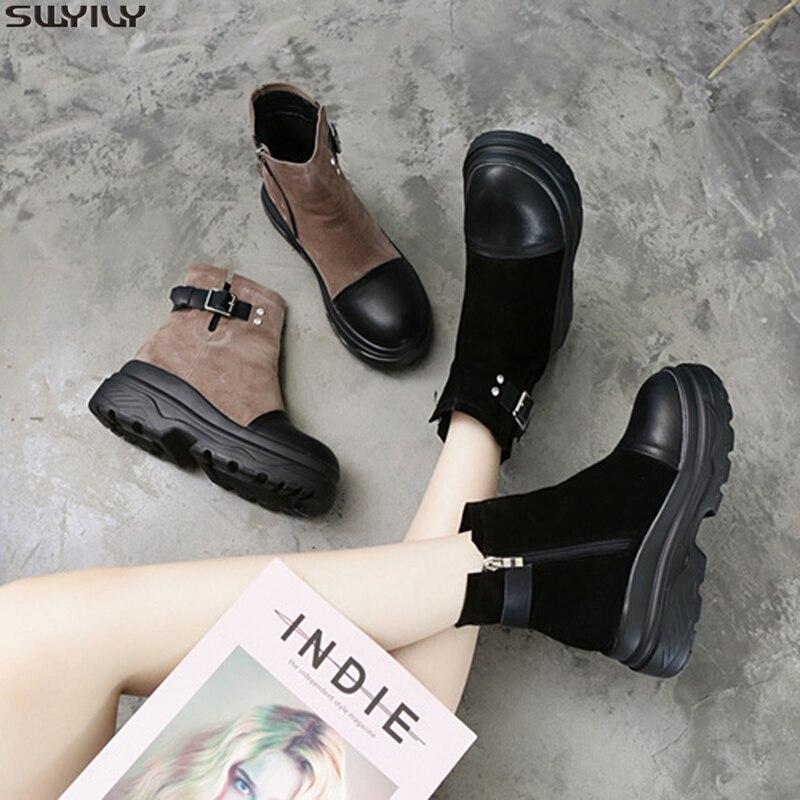 SWYIVY botas de cuero genuino Mujer Zapatos de cuña Casual Bootee mujer 2019 nuevos zapatos de invierno botas de tobillo mujer Zip botines