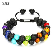 Natural Stone Beads Chakra Bracelet 8mm Lava Rock Tiger Eye Stone Bracelet Adjustble Essential Oil D